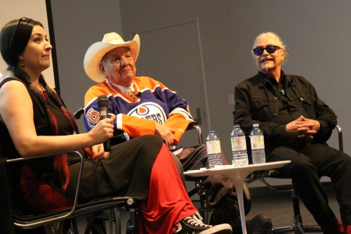 Curator Michelle Lavallee of Regina interviewed renowned artists Alex Janvier and Joseph Sanchez at a public forum at the Art Gallery of Alberta on March 6. Photo by Terry Lusty