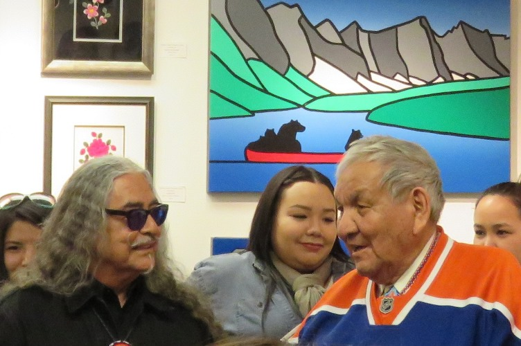 In addition to their appearances at the Art Gallery of Alberta, acclaimed artists Alex Janvier (proudly sporting and Oilers jersey) and Joseph Sanchez were in attendance at the opening reception of an exhibit at the Bearclaw Gallery.