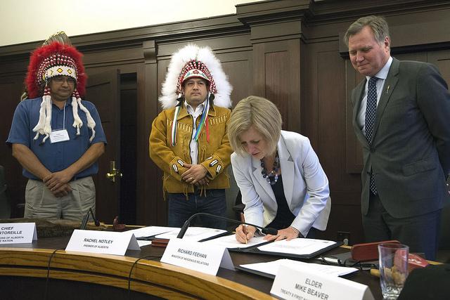 Chief Roland Twinn, Deputy Grand Chief Isaac Laboucan-Avirom, Alberta Premier Rachel Notley and Alberta Minister of Indigenous Affairs Richard Feehan.  (Photo supplied)