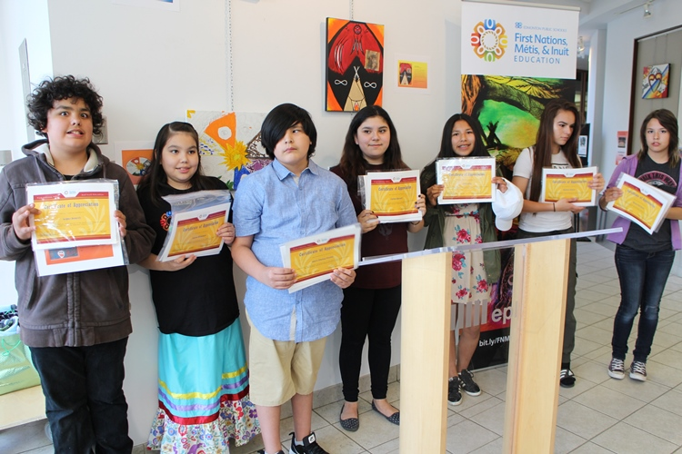 Award winning Junior High students displayed their reconciliation themed artwork.