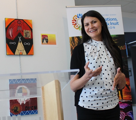 The Reconciliation Artwork Exhibit was described by Melissa Purcell at the Stanley Milner Edmonton Public Library.