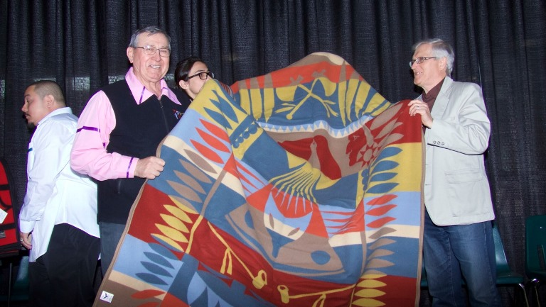 Amiskwaciy Elders Don Langford and Leith Campbell prepared the blanket ceremony.