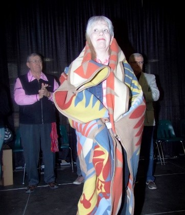 Dr. Lois Edge, MacEwan University (Indigenous Studies was one of the recipients of an honour blanket.
