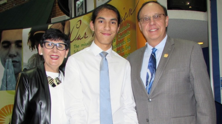 ECSD Superintendent Joan Carr, Rio Houle and Blessed Oscar Romero Principal Simon Pryma.