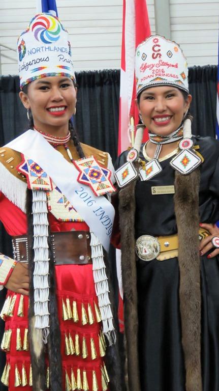2016 K-Days Indigenous Princess Pageant winner Britney Pastion and 2016 Calgary Stampede Indian Princess winner Vanessa Stiffarm.