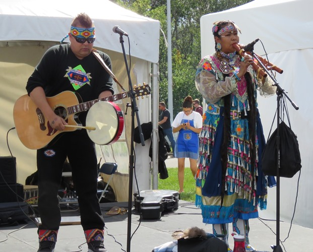 "The award winning duo ""Young Medicine"" performed to an appreciative crowd during Heritage Festival in Edmonton."