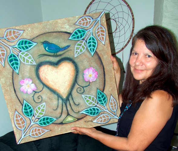 Nancy Desjarlais creates beautiful heart mandelas.
