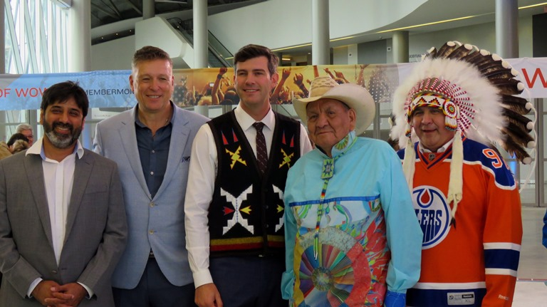 Alex Janvier poses with special guests following the unveiling of the mural.