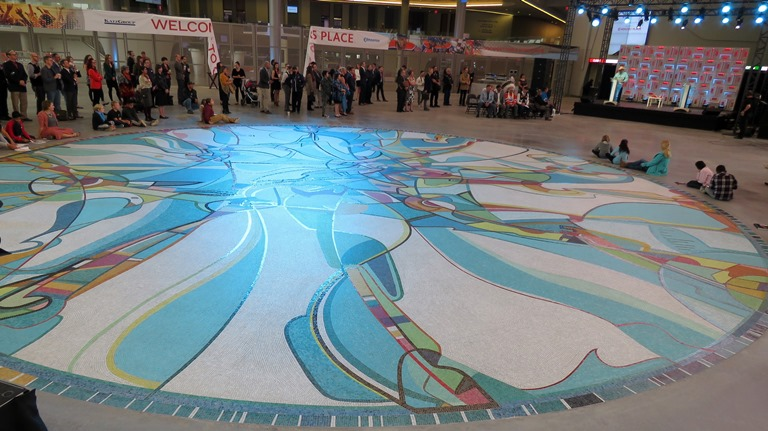 Alex Janvier's spectacular 13 metre mural was unveiled during the grand opening of Rogers Place in Edmonton on September 8, 2016. Photo by John Copley