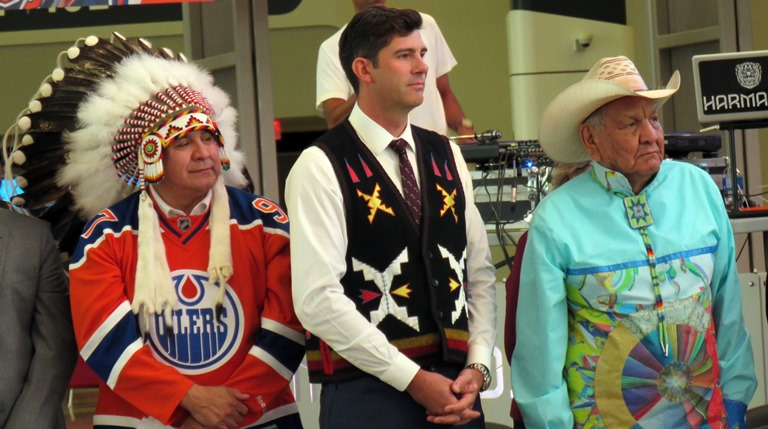 Artist Alex Janvier with Edmonton Mayor Don Iveson and Treaty 6 Grand Chief Randy Ermineskin