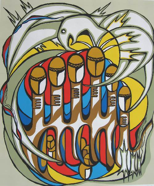 Thunderbird of Courage (1977) By Daphne Odjig was part of an exhibit at the Art Gallery of Alberta entitled 7: Professional Native Indian Artist Inc. that was held from March - July 2016.
