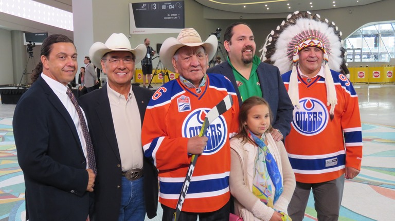 Guy Friedman , Willie Littlechilld, Alex Janvier, Dean Janvier and daughter, and Treaty 6 Grand Chief RAndy Ermineskin