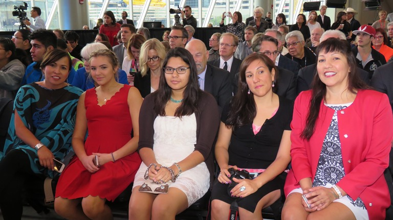 Left to right, Jolain Foster (daughter-in-law), Alejandra Metallic- Janvier (granddaughter), Tyesha Janvier (granddaughter), Jill Janvier (daughter), Tricia Janvier (daughter).