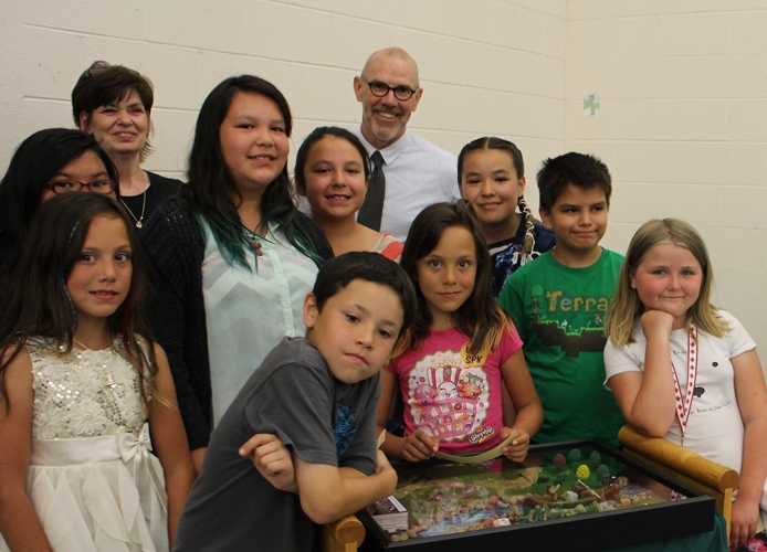 Belvedere Elementary School students with Principal James Cottrell. Photo by Terry Lusty