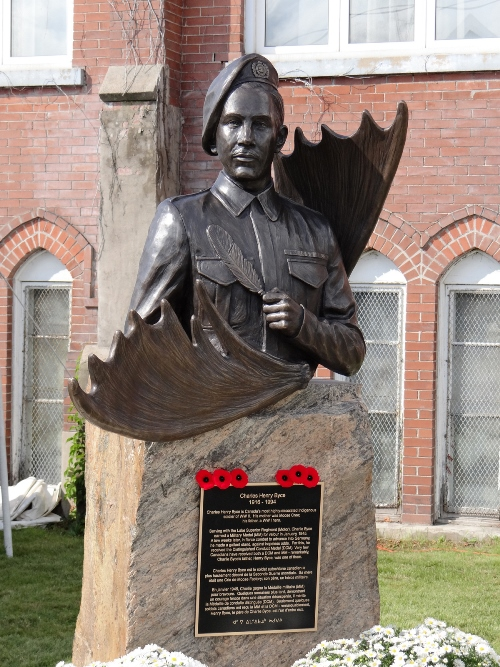 """""""Charles Henry Byce, Canada's most highly-decorated Indigenous soldier of WW II.  Monument by Tyler Fauvelle.  Location: Royal Canadian Legion, Chapleau."""