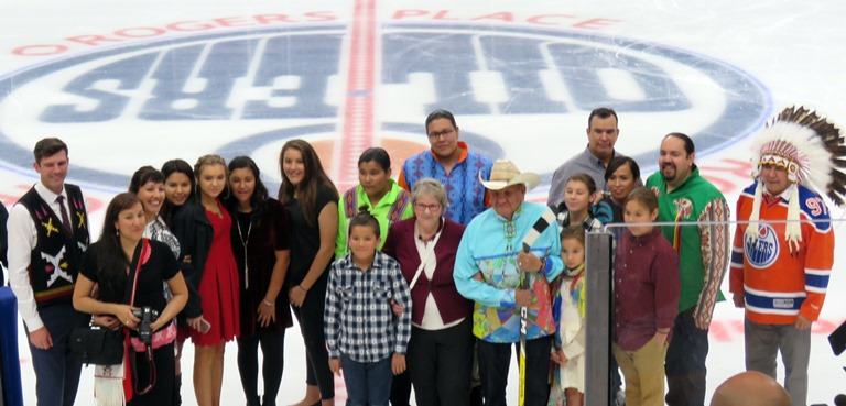 The Janvier family with Mayor Dn Iveson and Grand Chief Randy Ermineskin