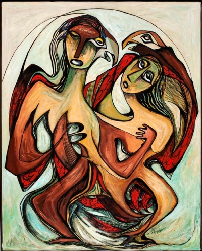 So Great Was Their Love (1975) by Daphne Odjig was on exhibit at the Art Gallery of Alberta from March - July 2016.
