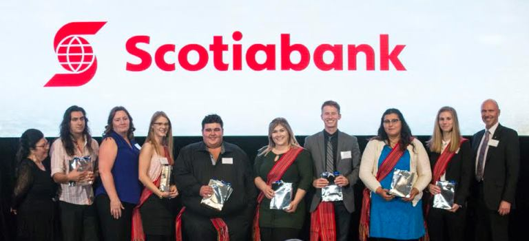 Representatives from ScotiaBank with the iPad Draw winners.