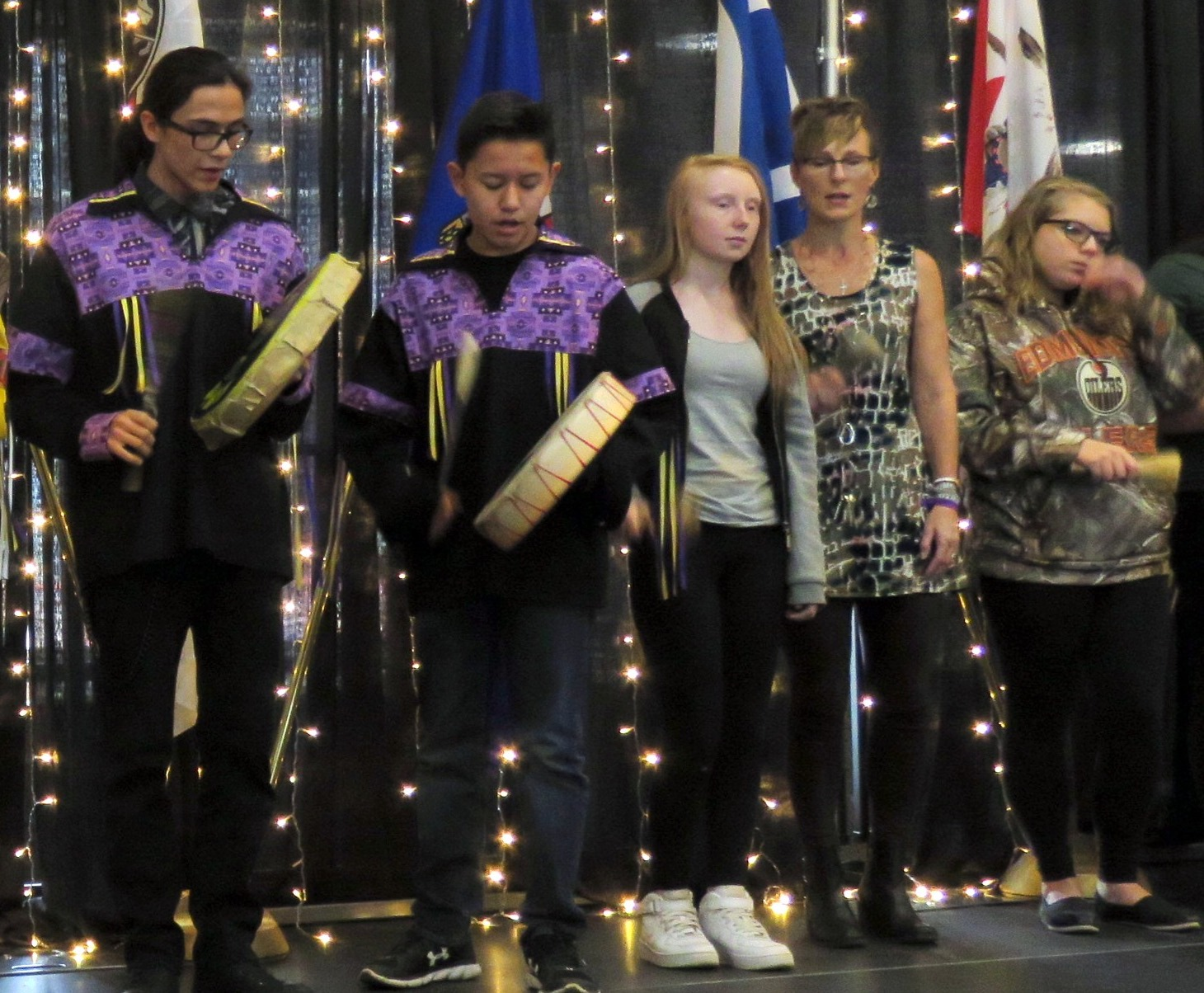 Some of the Amiskwaciy Drummers who provided entertainment during the school's Fall Feast.