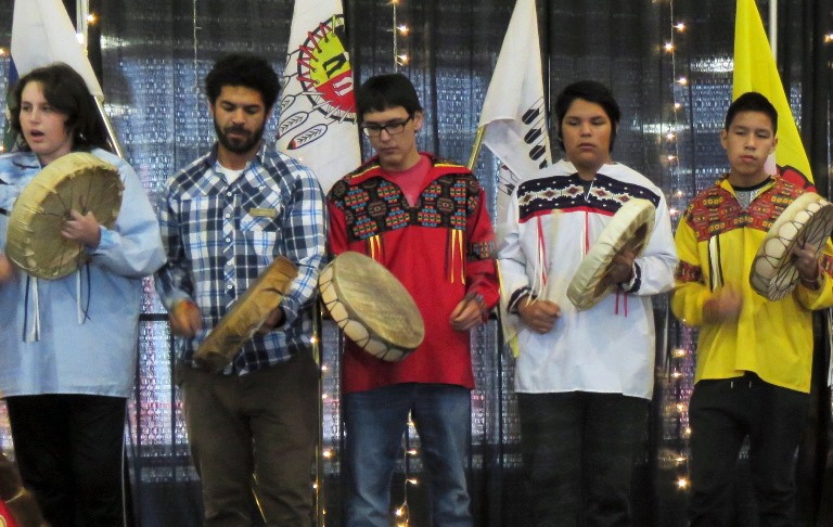 Some of the Amiskwaciy Drummers who performed during the 2016 Fall Feast.