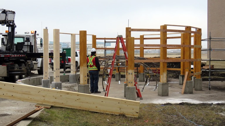 The foundation and construction of the sweat lodge at Amiskwaciy Academy took just one week to install.
