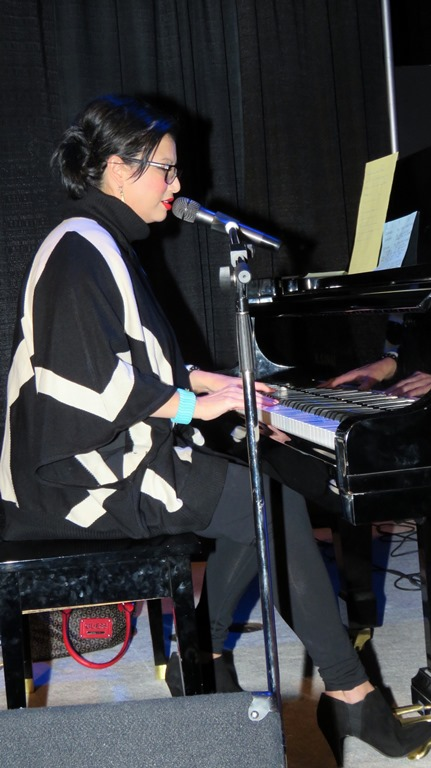 Michelle Neviadomy entertained the 300 people in attendance with songs performed on the drum and piano.