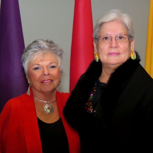 Roberta Jamieson and Marilyn Buffalo pose for a photo during Jamieson's Human Rights lecture at the University of Alberta last month.