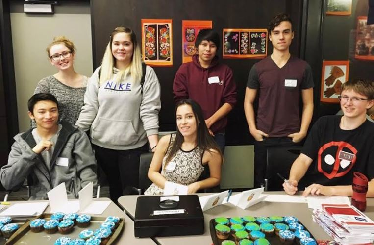 Members of the Strathcona High School Founding Culture Club:   Christien Ford, Mystik Robinson-Tod, Hannah Kletke, Jasmine Slobodian, Justin Wanyandie, Jarod Slobodian and Asher Friedland.